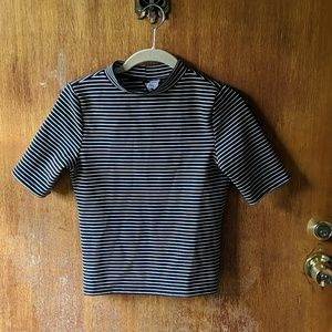 Black and white striped mock neck shirt size small